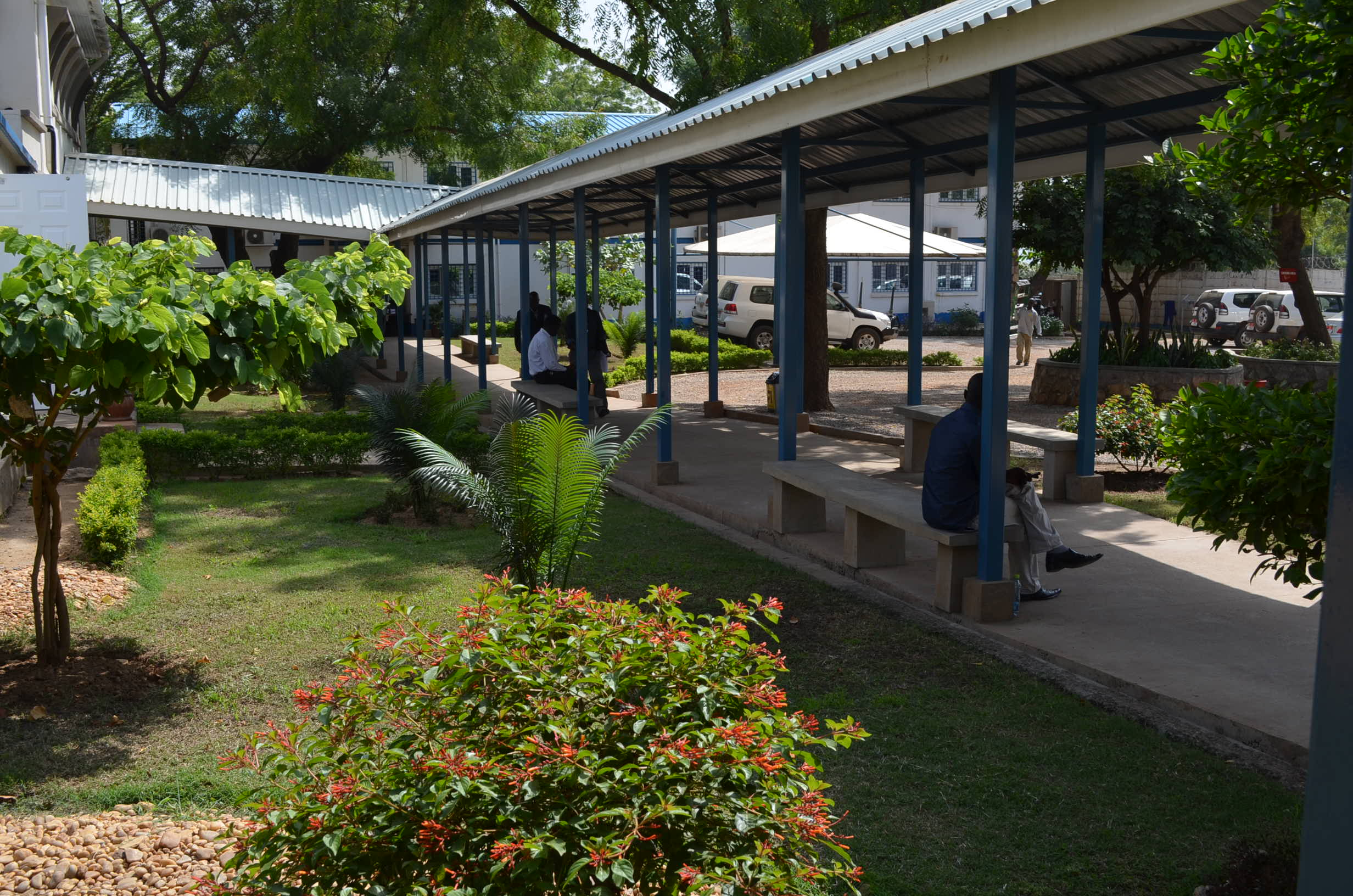 Covered walkway within the World Bank Country Office compound in Juba, South Sud