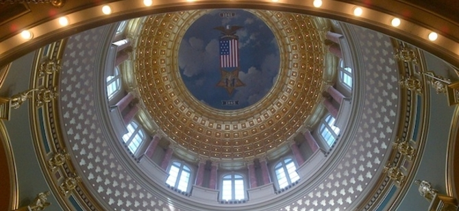 Looking up at the capitol dome in Des Moines, Iowa.