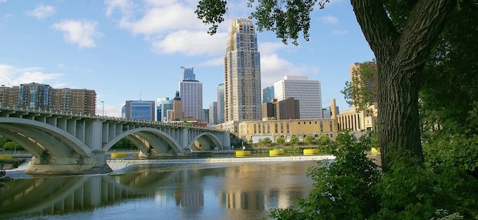 Central Minneapolis across the Mississippi River. Photo credit: kla4067 via flik