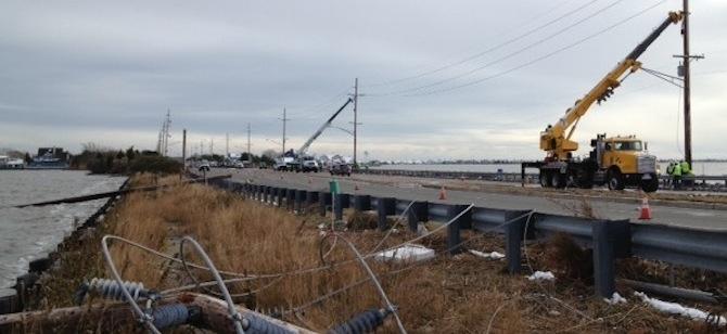 Utility crews at work in Seaside Heights, N.J., after Superstorm Sandy.