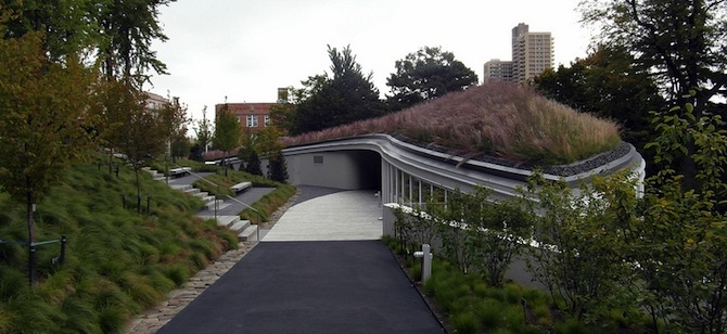 The LEED Gold Brooklyn Botanic Garden Visitor Center.
