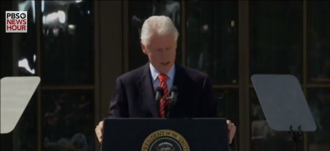 President Bill Clinton speaks at the opening of the LEED Platinum George W. Bush