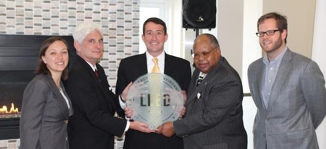 Groveton Manager Kim Robinson, USGBC SVP Roger Platt, Fore VP Jim Sullivan, Coun