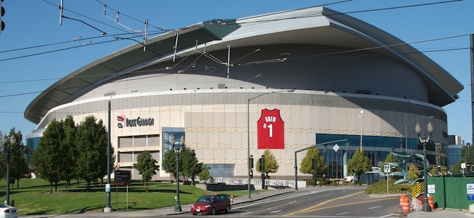 The LEED Gold-certified Rose Garden in Portland, home of the Trail Blazers. Cred