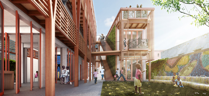 Architectural rendering by HOK, the pro-bono design partner for Project Haiti