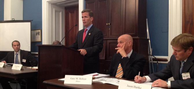 L to R: Mason Statham of Yates Construction, Congressman Dold, Gary Holtzer of H