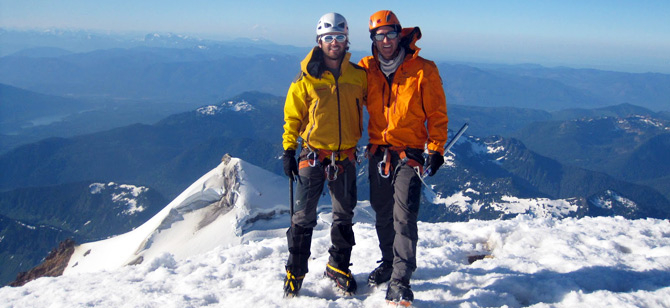 Mark with his son, Josh, on a recent climbing expedition