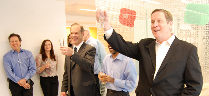 USGBC's Rick Fedrizzi and Scot Horst raise a toast to LEED Volume participants