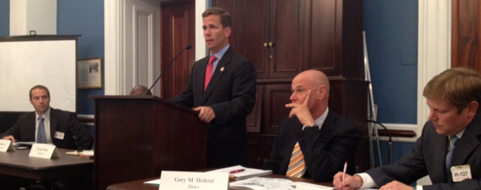 L to R: Mason Statham of Yates Construction, Congressman Dold, Gary Holtzer of H