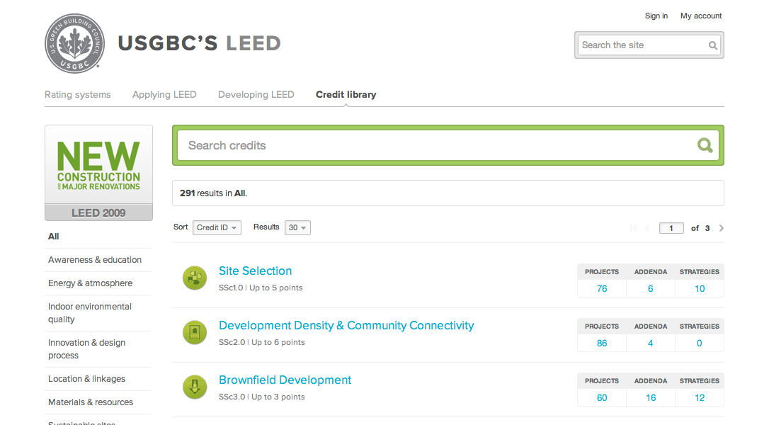LEED 2009 credits are listed in the searchable library