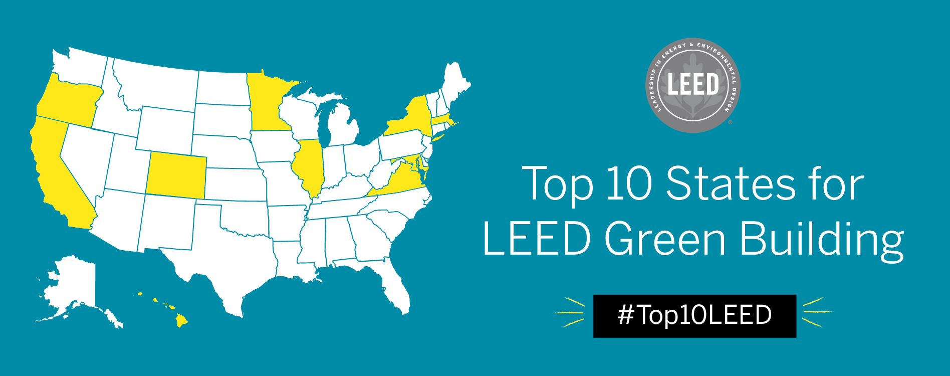Usgbc Releases The Top 10 States For Leed Recognizing Leaders Committed To More Sustainable And Resilient Buildings Cities And Communities U S Green Building Council